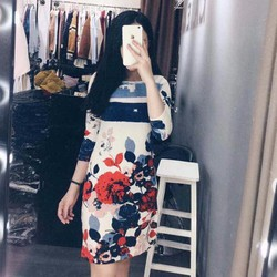 HÀNG MỚI-Đầm suông tay lửng in hoạ tiết 3D