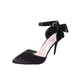 Giày cao gót mũi nhọn thắt dây nơ quý phái