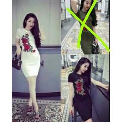 đầm suông hoa hồng cực xinh - 22446