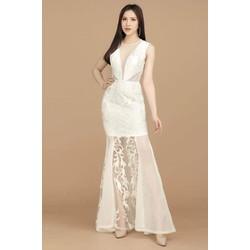 Đầm dạ hội ren cườm phối lưới
