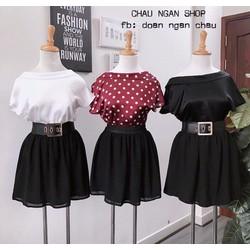 Set áo lưng V + chân váy xòe
