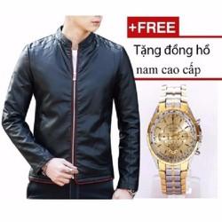 Áo khoác da nam phối viền  + tặng đồng hồ nam