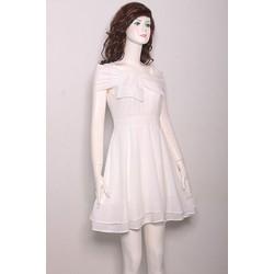 Đầm Xòe Rớt Vai Nơ Ngực