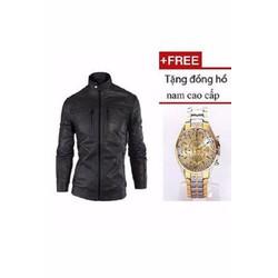 Áo khoác da nam lót lông  + Tặng đồng hồ nam cao cấp