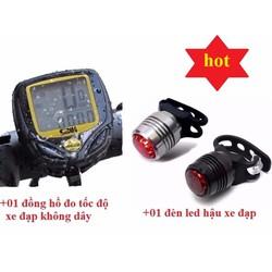 Công tơ mét chống nước cho xe đạp+Tặng đèn led hậu cho xe đạp