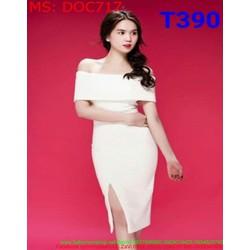 Đầm ôm body dự tiệc màu trắng bẹt vai ngang trẻ đẹp DOC717