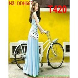 Đầm maxi 2 dây xẻ đùi màu xanh trẻ trung và nổi bật DDH667