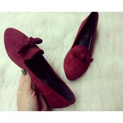 Giày bệt đỏ đô có nơ