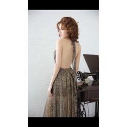 Đầm maxi kiểu hở lưng nơ cổ