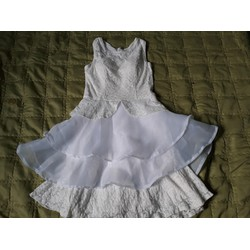 Đầm ren trắng phối voan hàng Quảng Châu _thanh lý