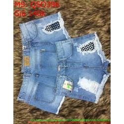 Quần jean short nữ rách kẻ ô lưới đen xanh nhạt trẻ trung QSO396