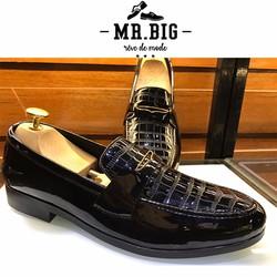 Giày lười nam da bóng giả vân cá sấu B56 đủ size 38-43