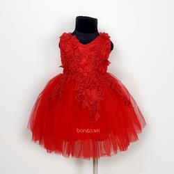 Đầm Công Chúa Đỏ Đá Hoa Mai