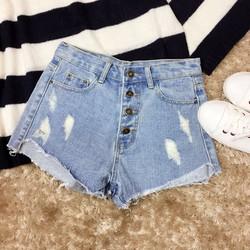 Quần sooc jeans xước lưng cao cài nút phối gấu xé
