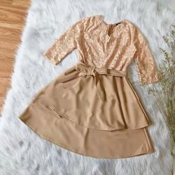 Đầm xòe cổ tim phối ren 2 tầng
