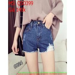 Quần jean short nữ rách ống thời trang và cá tính QSO399