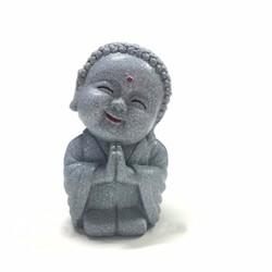Tượng Đá Trang Trí Chú Tiểu Vui Vẻ - Size Nhỏ - Đá Xám