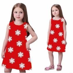 Đầm Noel bé gái in hình bông tuyết MM017b