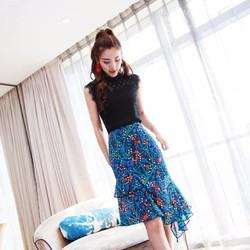 Áo và chân váy hoa cực xinh