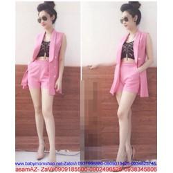 Sét áo kiểu vest và quần short kèm áo trong  JU143