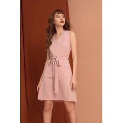 Đầm hồng thắt nơ eo 2 túi