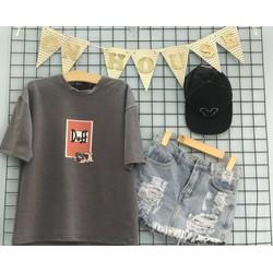 Áo thun thiết kế Duff  short jeans rách