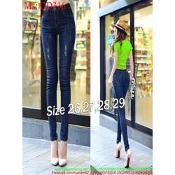 Quần jean nữ lưng cao dài ống ôm kẻ xước chỉ phong cách QD316