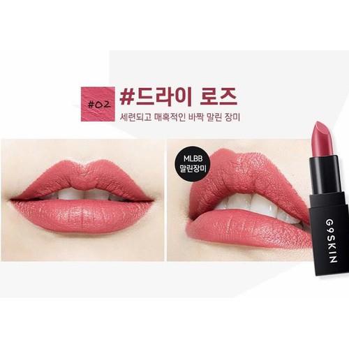 SON THỎI G9 SKIN FIRST LIPSTICK màu 02 Dryrose hồng đất siêu đẹp