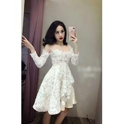 Đầm ren trắng phối ren lưới be