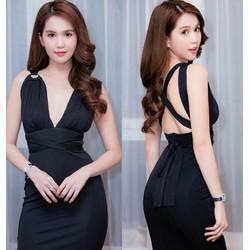 Đầm body đen hở lưng