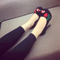 Giày cao gót hở mũi thêu hoa hồng cực đẹp