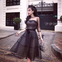 Đầm Xoè Ren Bi Tay Lỡ - Thiết kế 2 lớp cực xinh