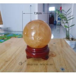 Quả Cầu phong thủy đá canxit vàng thiên nhiên đường kính 7,8cm