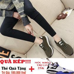 Giày thể thao nữ đơn giản màu xanh rêu