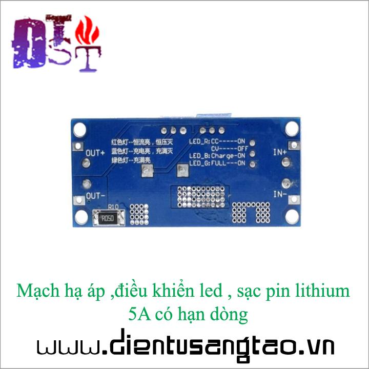 Mạch hạ áp ,điều khiển led , sạc pin lithium  5A có hạn dòng 5