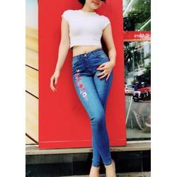 Quần jeans nữ thêu hoa lưng cao hàng cao cấp
