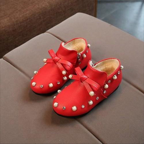 giày boot đính đá lót lông