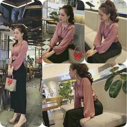 Set áo hồng quần đen