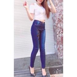 Quần jeans nữ lưng cao thêu hoa co dãn cao cấp