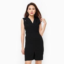 Đầm Lady cổ bẻ phối nút màu đen size L