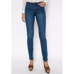 Quần jeans ống đứng cạp vừa xanh dương