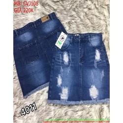 Chân váy jean ngắn rách tua màu xanh đậm thời trang CVJ108