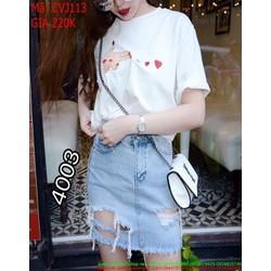 Chân váy jean ngắn rách đùi sành điệu và thời trang CVJ113