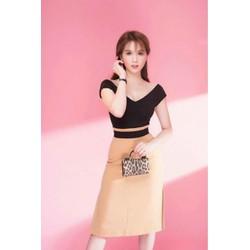Đầm xòe kiểu cổ vai ngang phối màu