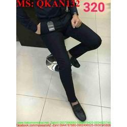 Quần kaki nam phôm đứng ống ôm màu xanh đen QKAN132