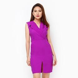 Đầm Lady cổ bẻ phối nút màu tím size XL