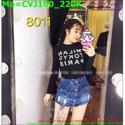 Chân váy jean màu xanh wash, rách xước nhẹ CVJ100
