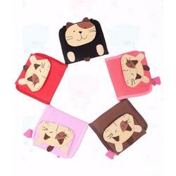 Bóp ví vải - ví tiền gập hình đầu mèo cầm tay dễ thương cho bé