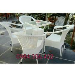 bàn ghế cafe mây nhựa xuất khẩu giá rẻ