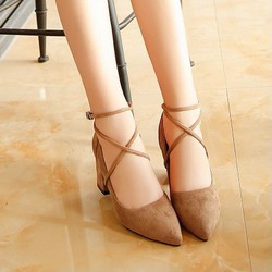 Giày cao gót nữ thời trang, kiểu dáng đế thô, chất liệu da lộn-10